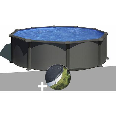 Kit piscine acier gris anthracite Gré Juni ronde 4,80 x 1,32 m + Bâche d'hivernage
