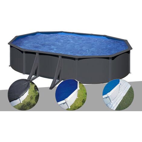 Kit piscine acier gris anthracite Gré Louko ovale 5,27 x 3,27 x 1,22 m + Bâche d'hivernage + Bâche à bulles + Tapis de sol