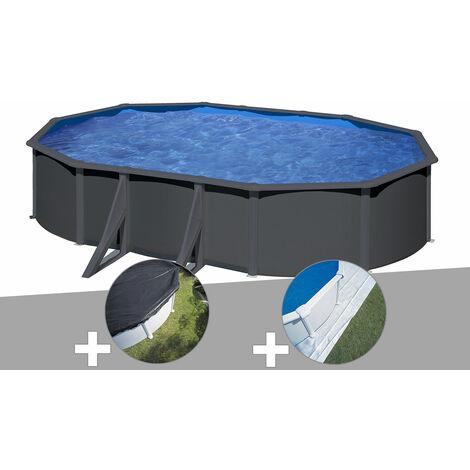 Kit piscine acier gris anthracite Gré Louko ovale 5,27 x 3,27 x 1,22 m + Bâche d'hivernage + Tapis de sol