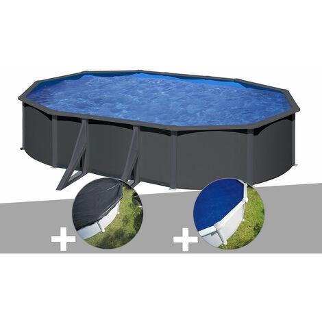 """main image of """"Kit piscine acier gris anthracite Gré vLouko ovale 5,27 x 3,27 x 1,22 m + Bâche d'hivernage + Bâche à bulles"""""""