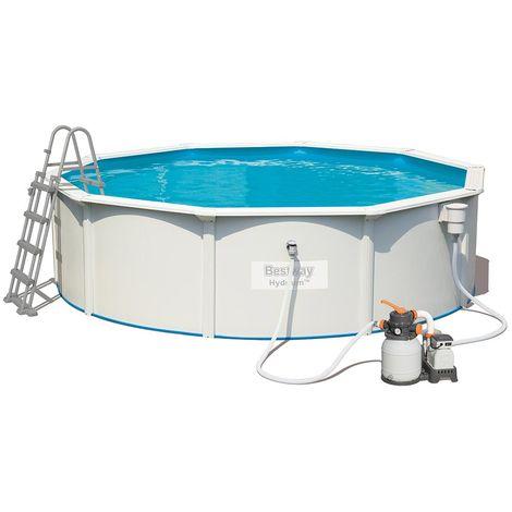 Kit piscine Bestway HYDRIUM STEEL WALL POOLS ronde 460 x 120 cm filtration à sable