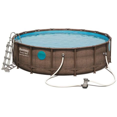 Kit piscine Bestway POWER STEEL SWIM VISTA POOL ronde Ø488x122cm aspect tressé avec hublots