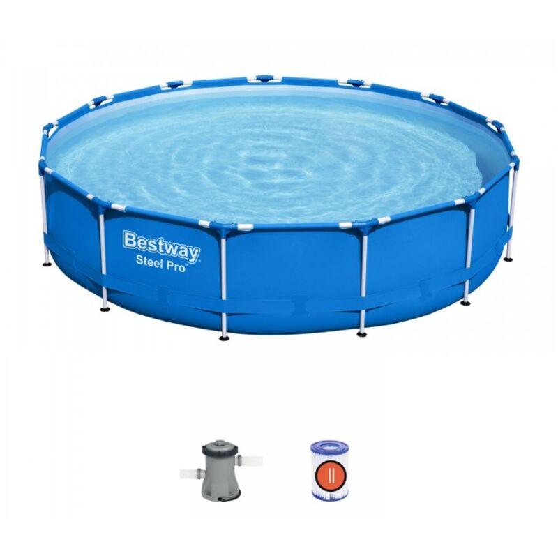 Kit piscine STEEL PRO FRAME POOL ronde Ø396x 76cm filtration cartouche - Bestway