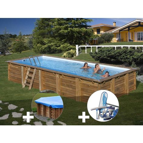 Kit piscine bois Sunbay Braga 8,00 x 4,00 x 1,46 m + Bâche hiver + Kit d'entretien