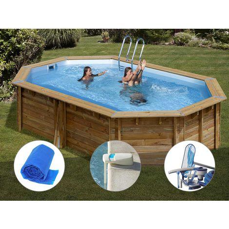 Kit piscine bois Sunbay Cannelle 5,51 x 3,51 x 1,19 m + Bâche à bulles + Alarme + Kit d'entretien