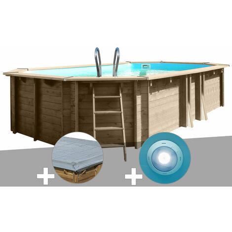 Kit piscine bois Sunbay Safran 6,37 x 4,12 x 1,33 m + Bâche hiver + Spot