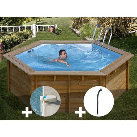 Kit piscine bois Sunbay Vanille Premium Ø 4,12 x 1,19 m + Alarme + Douche