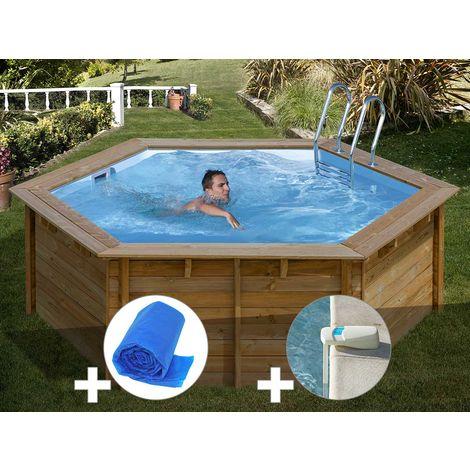 Kit piscine bois Sunbay Vanille Premium Ø 4,12 x 1,19 m + Bâche à bulles + Alarme