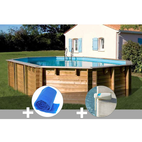 Kit piscine bois Sunbay Vermela 6,72 x 4,72 x 1,46 m + Bâche à bulles + Alarme