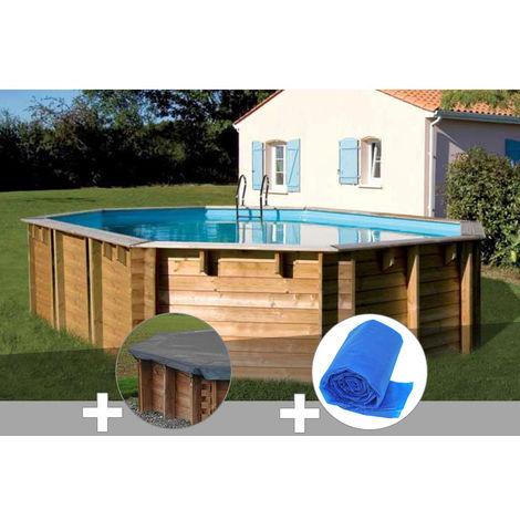 Kit piscine bois Sunbay Vermela 6,72 x 4,72 x 1,46 m + Bâche hiver + Bâche à bulles