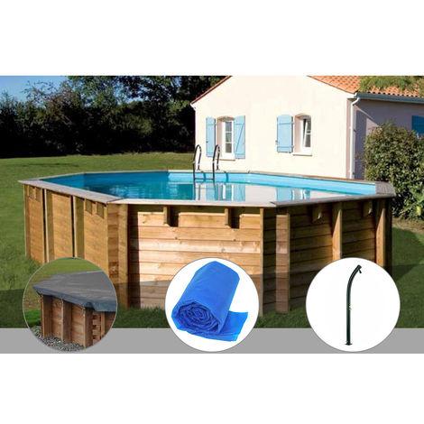 Kit piscine bois Sunbay Vermela 6,72 x 4,72 x 1,46 m + Bâche hiver + Bâche à bulles + Douche