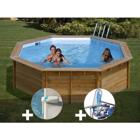 Kit piscine bois Sunbay Violette Ø 5,11 x 1,24 m + Alarme + Kit d'entretien