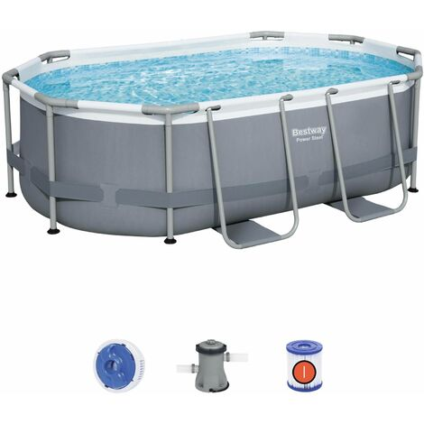 Kit piscine complet BESTWAY – Spinelle grise – piscine ovale tubulaire 3x2 m, pompe de filtration et kit de réparation inclus