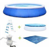 Kit piscine Emeraude ⌀450x90cm gonflable bleue, autoportante ovale avec pompe de filtration, bâche, tapis de sol, échelle