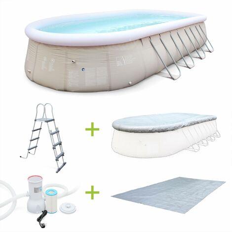 Kit piscine géante Saphir 7,3x3,6m gonflable grise, autoportante ovale, pompe, bâche, tapis, échelle
