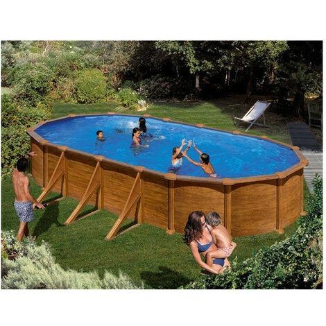 Kit piscine hors sol acier ovale MAURITIUS aspect bois avec renforts apparents - Dimensions piscine: 7,30 x 3,75 x 1,32 m