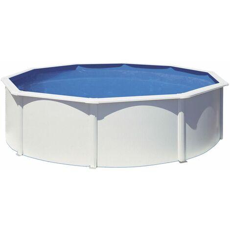 Kit piscine hors sol AZORES ronde en acier - couleur blanche