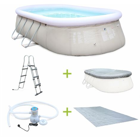 Kit piscine Onyx 5,4x3m gonflable grise, pompe de filtration, bâche de protection, tapis de sol et échelle