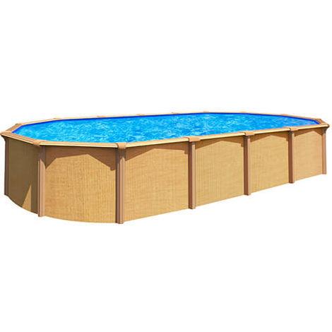Kit piscine ovale hors sol acier - 5,1 m x 3,9m - aspect Bois - Abak OSMOSE - C9570 - Diamètre intérieur 4,90 x 3,65 m : Aspect Bois