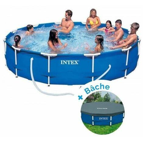Kit piscine tubulaire 3m66 x H 0.76 cm en métal ronde - Epurateur à cartouches et bâche inclus - Intex - Livraison gratuite