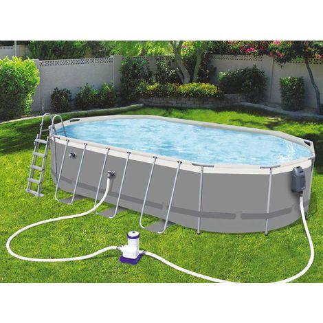 Kit piscine tubulaire Bestway POWER STEEL Comfort Jet ovale 610x366x122cm filtration cartouche