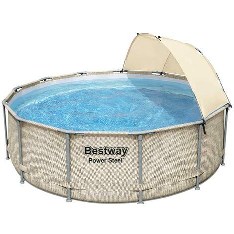 Kit piscine tubulaire Bestway POWER STEEL FRAME POOL ronde Ø396 x 107cm avec auvent