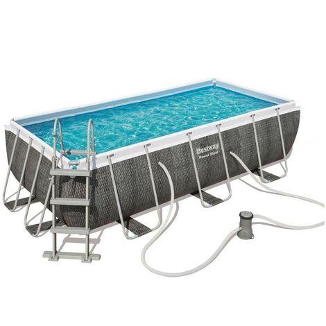 Kit piscine tubulaire Bestway POWER STEEL rectangulaire 404x201x100cm aspect tressé gris
