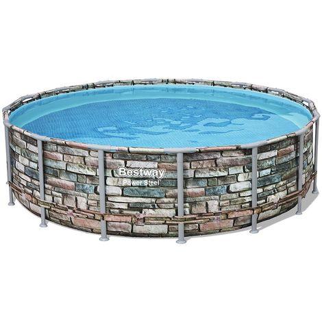 Kit piscine tubulaire Bestway POWER STEEL ronde Ø488x122cm à cartouche