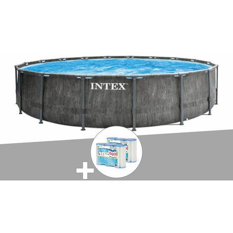Kit piscine tubulaire Intex Baltik ronde 4,57 x 1,22 m + 6 cartouches de filtration