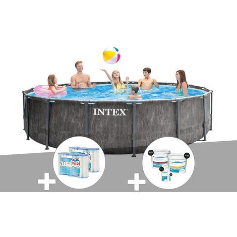 Kit piscine tubulaire Intex Baltik ronde 4,57 x 1,22 m + 6 cartouches de filtration + Kit de traitement au chlore