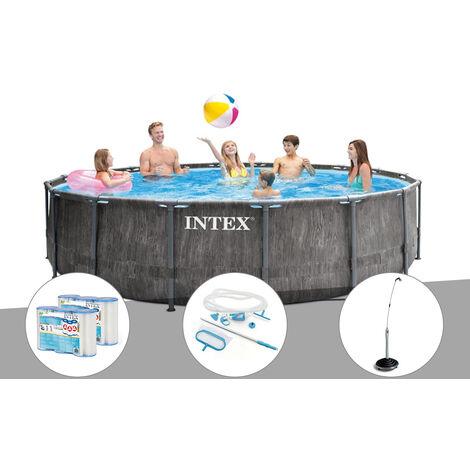 Kit piscine tubulaire Intex Baltik ronde 4,57 x 1,22 m + 6 cartouches de filtration + Kit d'entretien + Douche solaire