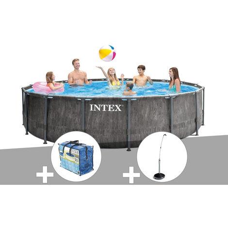 Kit piscine tubulaire Intex Baltik ronde 4,57 x 1,22 m + Bâche à bulles + Douche solaire