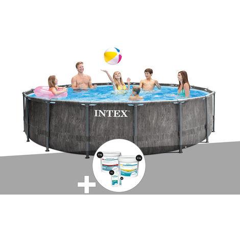 Kit piscine tubulaire Intex Baltik ronde 4,57 x 1,22 m + Kit de traitement au chlore