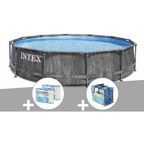 Kit piscine tubulaire Intex Baltik ronde 5,49 x 1,22 m + 6 cartouches de filtration + Bâche à bulles