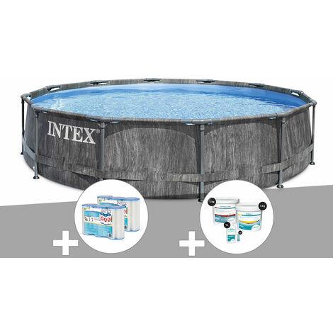 Kit piscine tubulaire Intex Baltik ronde 5,49 x 1,22 m + 6 cartouches de filtration + Kit de traitement au chlore