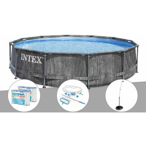 Kit piscine tubulaire Intex Baltik ronde 5,49 x 1,22 m + 6 cartouches de filtration + Kit d'entretien + Douche solaire