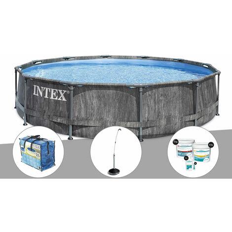 Kit piscine tubulaire Intex Baltik ronde 5,49 x 1,22 m + Bâche à bulles + Douche solaire + Kit de traitement au chlore