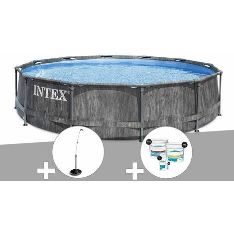 Kit piscine tubulaire Intex Baltik ronde 5,49 x 1,22 m + Douche solaire + Kit de traitement au chlore