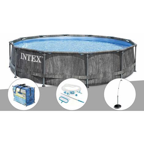 Kit piscine tubulaire Intex Baltik ronde 5,49 x 1,22 m + Kit d'entretien + Bâche à bulles + Douche solaire