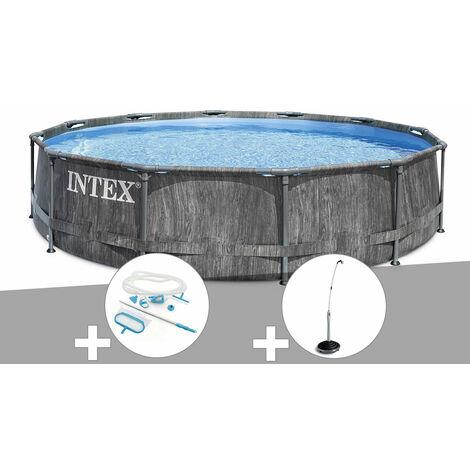Kit piscine tubulaire Intex Baltik ronde 5,49 x 1,22 m + Kit d'entretien + Douche solaire