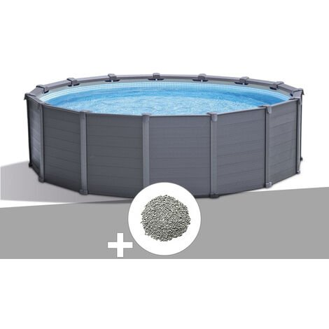 Kit piscine tubulaire Intex Graphite ronde 4,78 x 1,24 m + 10 kg de zéolite