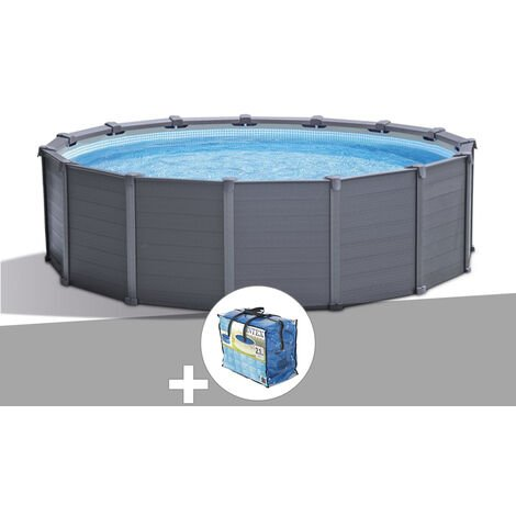 Kit piscine tubulaire Intex Graphite ronde 4,78 x 1,24 m + Bâche à bulles