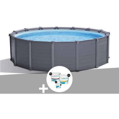Kit piscine tubulaire Intex Graphite ronde 4,78 x 1,24 m + Kit de traitement au chlore