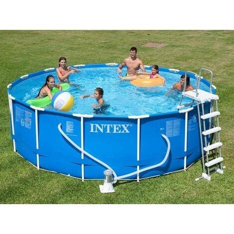 Kit piscine tubulaire Intex Metal Frame 4,57 x 1,22 m (ex 28236NP) - Bleu