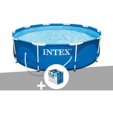 Kit piscine tubulaire Intex Metal Frame ronde 3,05 x 0,76 m + Bâche à bulles