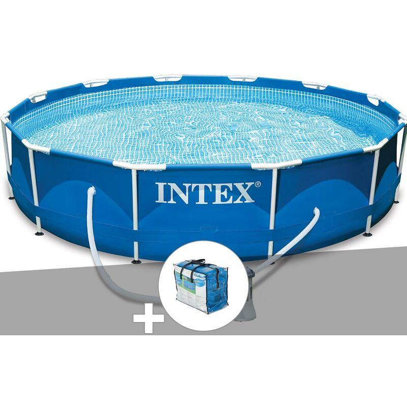Kit piscine tubulaire Metal Frame ronde 3,66 x 0,76 m + Bâche à bulles - Intex