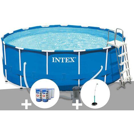 Kit piscine tubulaire Intex Metal Frame ronde 4,57 x 1,22 m + 6 cartouches de filtration + Douche solaire