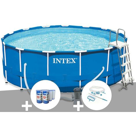 Kit piscine tubulaire Intex Metal Frame ronde 4,57 x 1,22 m + 6 cartouches de filtration + Kit d'entretien