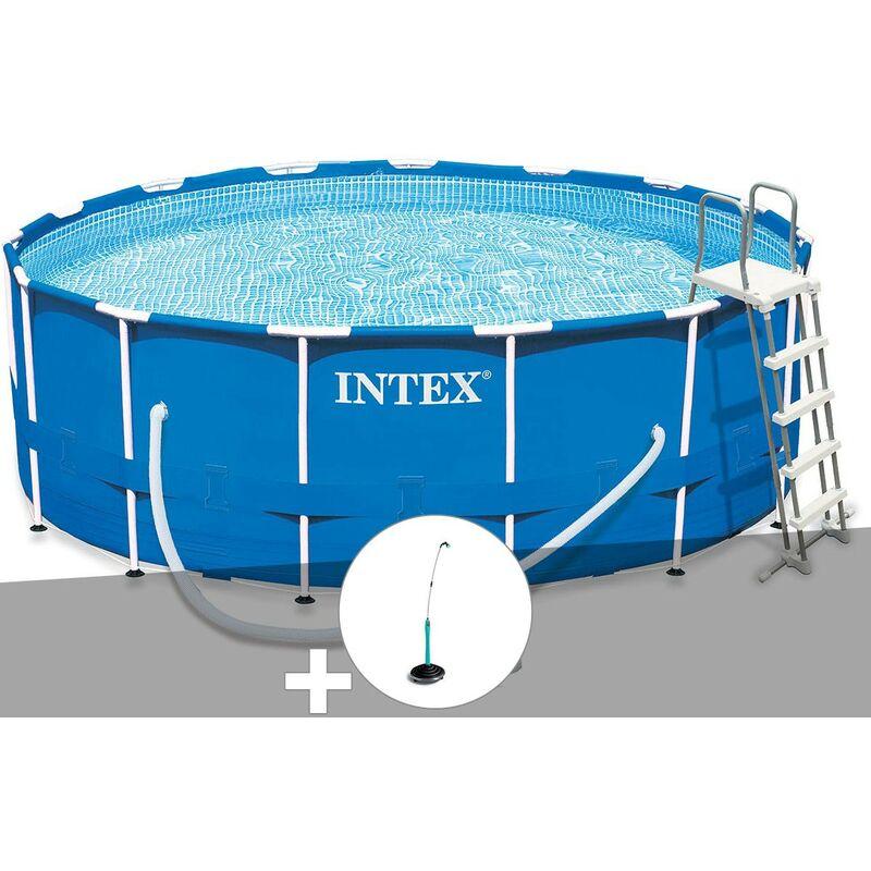 Kit piscine tubulaire Intex Metal Frame ronde 4,57 x 1,22 m + Douche solaire
