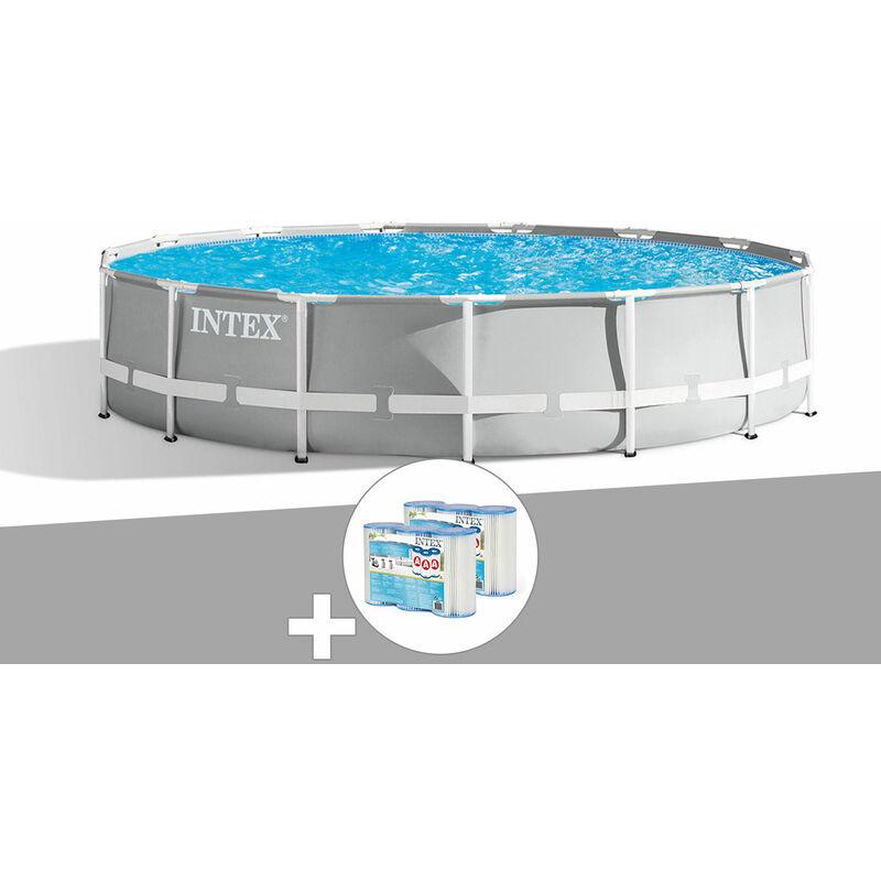 Kit piscine tubulaire Intex Prism Frame ronde 4,57 x 1,07 m + 6 cartouches de filtration